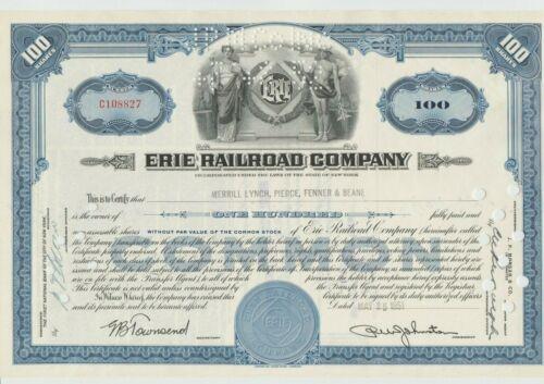 Erie Railroad Stock Certificate Pennsylvania RR Blue