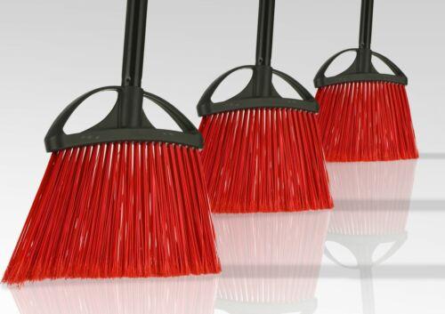Alpine Industries 10 in. Wide Red Indoor Outdoor Commercial Angle Broom, 3-Pack