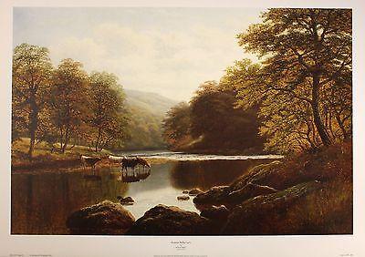 """WILLIAM MELLOR """"Autumn Reflections"""" river cows art SIZE:51cm x 76cm  RARE"""