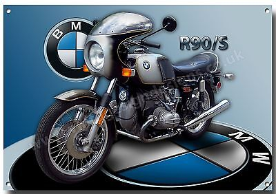 BMW R90/S SILVER SMOKE MOTORCYCLE METAL SIGN.(A3) SIZE VINTAGE BMW MOTORCYCLES.