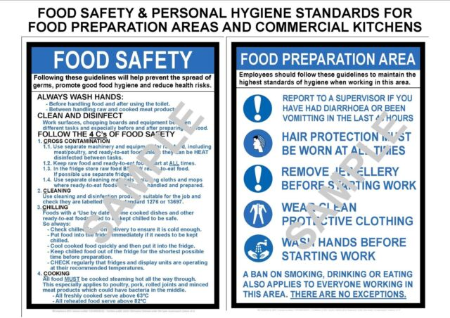 Health safety 2 a4 laminated commercial kitchen signs food for 8 kitchen safety rules