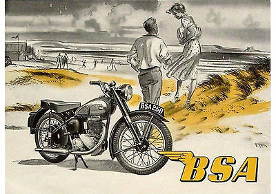 1950's BSA C11 250cc motorcycle poster