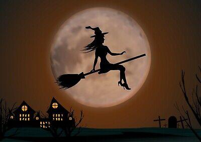 On Moon Poster Print Size A3 Halloween Poster Gift #16804 (Halloween Silhouetten Kunst)