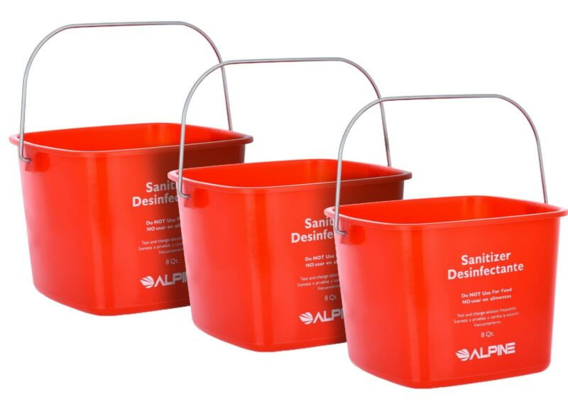 Alpine Industries Red 8 Quart Plastic Cleaning Pail Water Mop Bucket 3 Pack