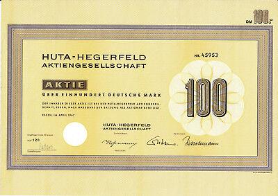 Huta - Hegerfeld Aktiengesellschaft Essen historische DM Bau Aktie 1967