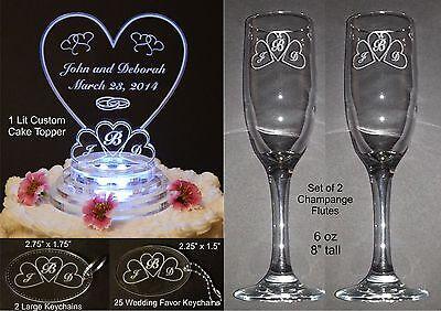 Monogram Flute (30 Pc Monogram Heart Lighted Wedding Cake Topper Acrylic Cake Top + Favors Flute )