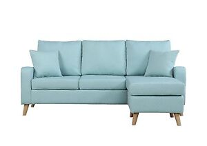 Miraculous Details About Modern Furniture Small Space Sectional Sofa Reversible Chaise In Light Blue Cjindustries Chair Design For Home Cjindustriesco