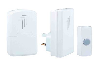 Byron DB312 Wireless Portable & Plug In Door Bell Chime Kit With Socket 30m