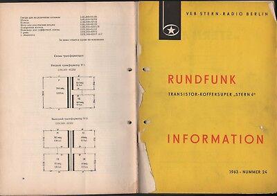 BERLIN, Prospekt 1963, VEB Stern-Radio Berlin Transistor-Koffersuper stern 4