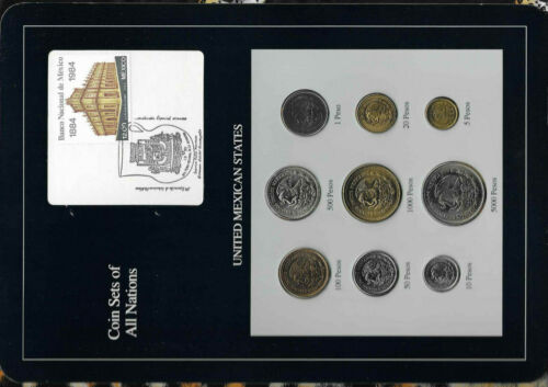 Coin Sets of All Nations Mexico 1987-1990 UNC 5,10,100,500,1000,5000 Peso 1988