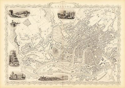 Antique Bristol England decorative map Tallis 31,5 x 23,6 inch canvas