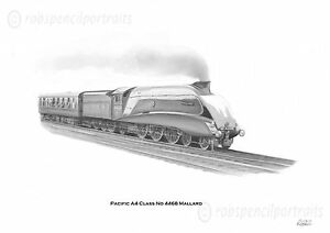 MALLARD-Steam-Train-A4-Pencil-Drawing-Art-Print-RARE