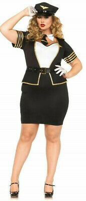 Original Halloween Costumes For Women (6pc Leg Avenue Women's Plus Mile High Pilot Costume Halloween Sz 3X w/gloves)