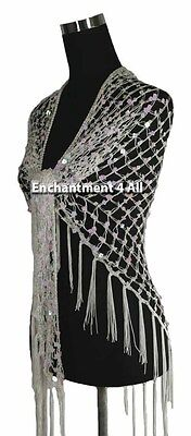 Exotic Handmade Crochet Net Triangular Shawl Wrap Hip Scarf w/ Sequins, White
