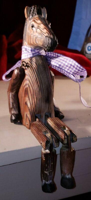 Vintage Hand Carved Wooden Horse Shelf Sitter. Articulated.