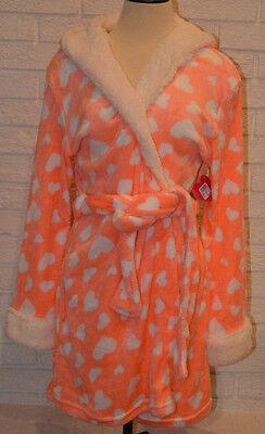 Women's Tarea Rue 21 Melon Orange & White Hearts Hooded Plush Robe Size L-XL (Orange Robe)