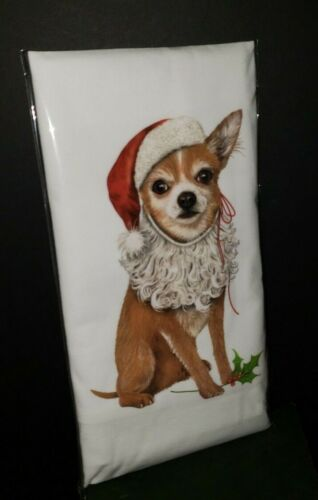 Mary Lake Thompson Christmas CHIHUAHUA Santa  Kitchen Flour Sack Towel NIP