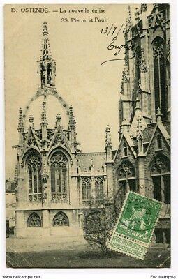 CPA - Carte postale -  Belgique - Ostende -La Nouvelle Eglise Saints Pierre 1913