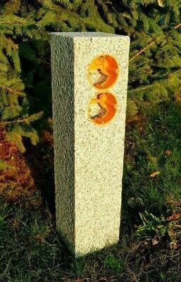 DOPPELGartensteckdose Außensteckdose Granit Anthrazit Steckdosensäule Naturstein