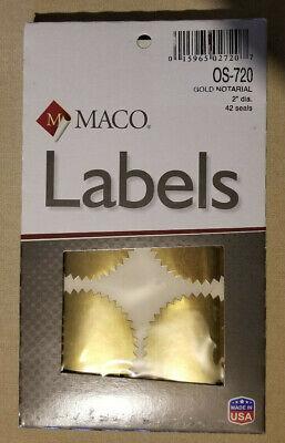 Os-720 Maco Notarial Gold Seal Labels 2 Inch Diameter 1 Box 42 Seals