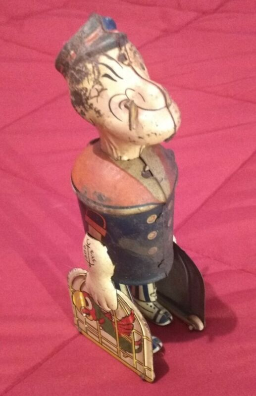 Vintage Marx Popeye Wind-Up Toy with Bird Cages Tin Litho Collectible Works Used