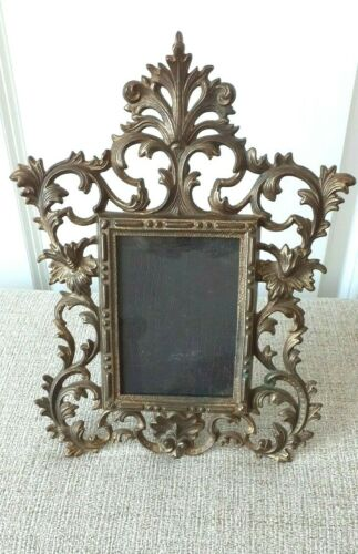 """Antique Victorian Easel Back Picture Frame Brass Gilt 10"""" x 12"""""""