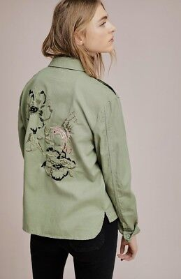 NWT Anthropologie Sanctuary olive green Bird Floral Embroidered Shirt Jacket XS