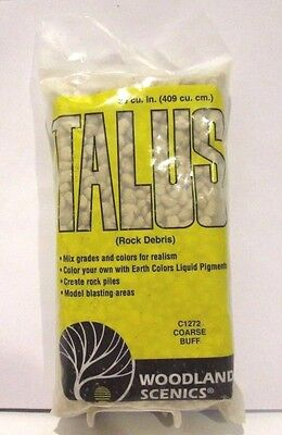 WOODLAND SCENICS TRAINS ( TALUS ROCK DEBRIS #C1272 COARSE BUFF ) NEW