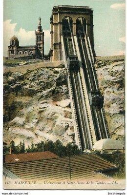 CPA -Carte postale-France -Marseille - L'Ascenseur et Notre Dame de la Garde