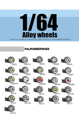 Wheel Pack set Rubber Tires Diecast Alloy Wheels 1:64 Hotwheels N001~N024