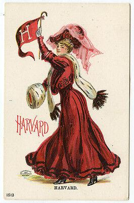 Harvard University College Girl Spirit Postcard Unsigned Christy