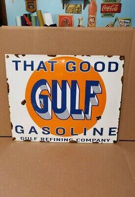 GOOD GULF gasoline porcelain sign gas pump plate vintage brand motor oil co.