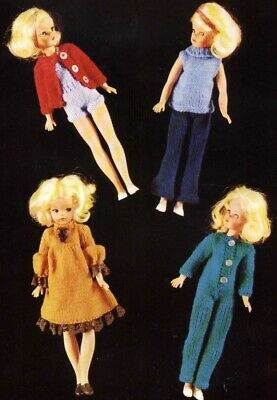 Sindy Barbie Knitting Pattern Dolls Clothes Cardigan, Jumpsuit, Hotpants 4 ply