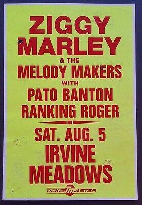 ZIGGY MARLEY / PATO BANTON Original Promo Concert Poster 1989 Reggae Bob Marley