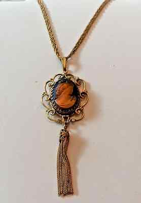 VINTAGE  GOLDTONE DOUBLE STRAND PENDANT CAMEO NECKLACE WITH TASSEL