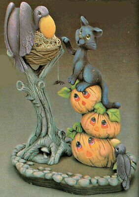Ready To Paint Ceramic Bisque Halloween (CERAMIC BISQUE HALLOWEEN SCENE VULTURES & CAT ON PUMPKINS~ READY TO)