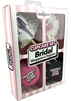 Bridal Shower Cupcake Decoration Kit Bride Wrappers Toppers Bachelorette Wedding