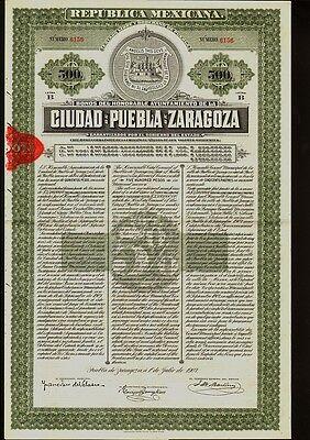 MEXICO  City Bond Ciudad de Puebla de Zaragoza $500 1907 uncancelled dividend c.