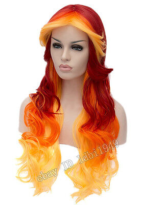 Ghost Rider Rapidash Fire Wig Long Wave Halloween Costume Cosplay Wig for - Ghost Rider Halloween Costume For Adults