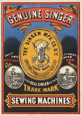 Genuine Singer Sewing Machine VINTAGE ENAMEL METAL TIN SIGN WALL PLAQUE