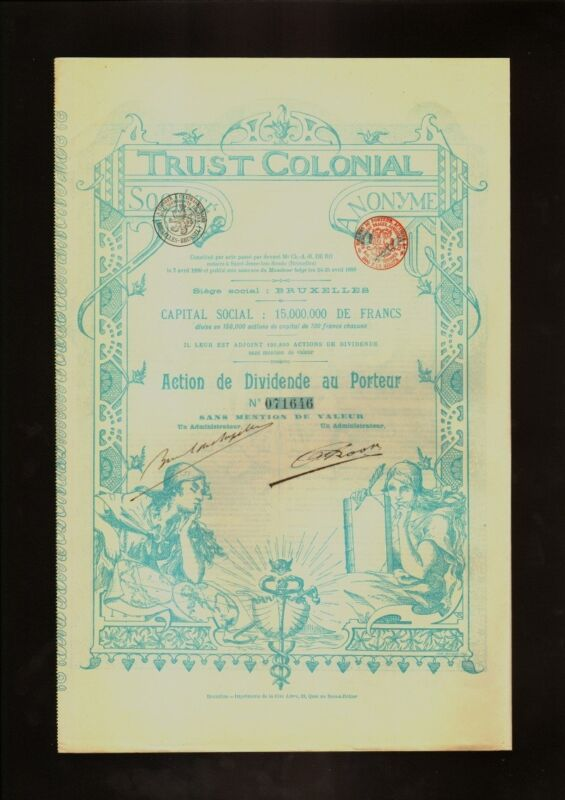 AFRICA / BELGIUM : TRUST COLONIAL SA BRUSSELS dd 1899