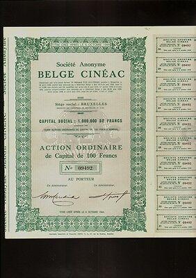 Soc. Anonyme Belge Cineac Brussels Belgium 1944 - Film / Movie / Cinema