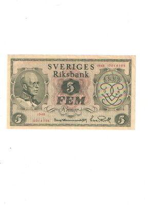Schweden , 5 Kronor 1948 UNC