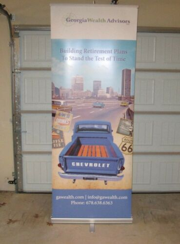 """2 Retractable Banner Signs 34""""x 7ft Tall"""