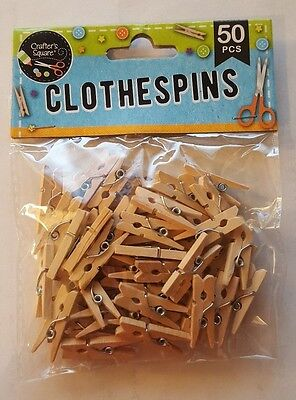 "50 pc MINI 1"" inch small CLOTHESPIN Natural Wood Miniature Clip Arts Crafts"