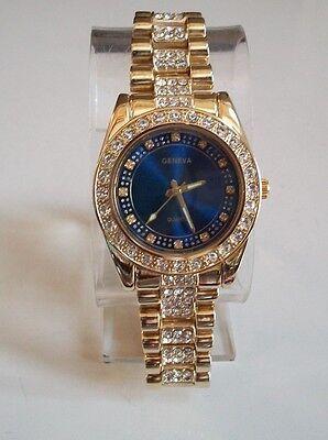 Men's Designer gold consummate blue dial hip hop bling make watch
