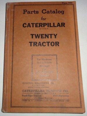 Caterpillar Twenty 20 Crawler Tractor Parts Catalog Manual Book Cat Original