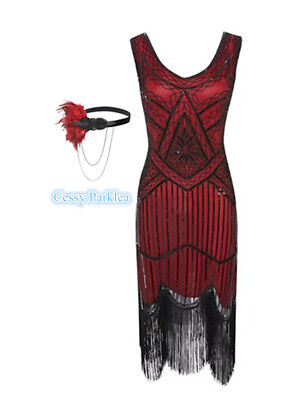 Red Black Ladies 1920s Roaring 20s Flapper Gatsby Costume Sequins Outfit Dress - Roaring 20 Outfits