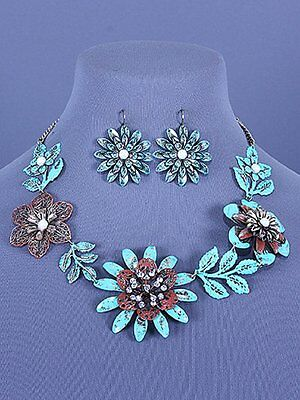 Green Brown Patina Flowers Leaf Design Crystal Accent Metal Necklace Set Fashion
