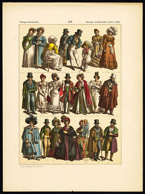 Antique Print-MODERN ERA-WESTERN EUROPE-1815/1840-COSTUME-Pl.119-Hottenroth-1884